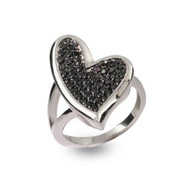 Designer Style Abstract Heart Ring with Black Pave CZ