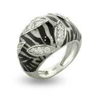 Zebra Print Enamel Ring with CZ Leaves