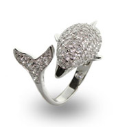 Sparking Diamond CZ Dolphin Wrap Cocktail Ring