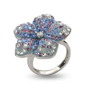Dazzling Light Blue and Lavender Swarovski Crystal Flower Ring