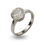 Tiffany Inspired Sterling Silver Solitare Bezel Set CZ Ring