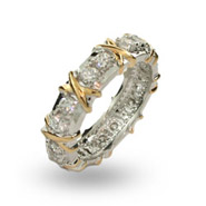 Tiffany Inspired 16 Stone Two Tone X Ring