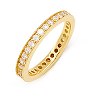 Sparkling Gold Vermeil Stackable CZ Band with Millgrain Edging