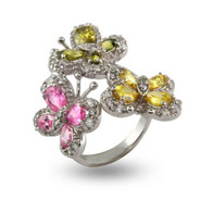 Pretty Pastel CZ Triple Butterfly Ring