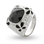 Julia's Black & White Posey Enamel CZ Ring