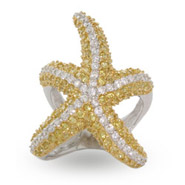 Sparkling Pave Set Gold & Silver CZ Starfish Cocktail Ring