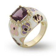 Purple and Pink Enamel CZ Vermeil Flower Ring