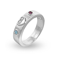 Custom Sterling Silver Birthstone Couples Promise Ring