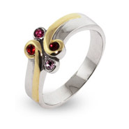 Sterling Silver and Gold Vermeil Birthstone Mothers Ring