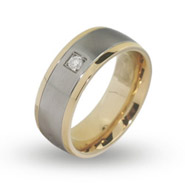 Mens Gold Lined Engravable Band with Single CZ