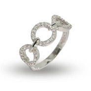 Sterling Silver Triple CZ Circles Ring