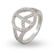 Sterling Silver CZ Peace Sign Ring