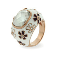 Emilys Rose Gold White Enamel CZ Sterling Silver Flower Ring