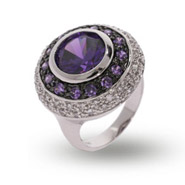 Designer Style Multi Circle Amethyst and CZ Cocktail Ring