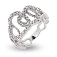 Sterling Silver Linked Hearts Friendship Ring
