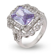 Elaborate Lavender CZ Victorian Cocktail Ring
