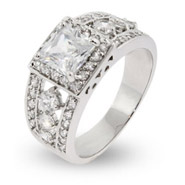 Elaborate Sterling Silver and CZ Princess Cut Right Hand Ring