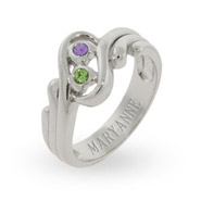 Sterling Silver Swirling Couples Promise Ring with Swarovski Crystals