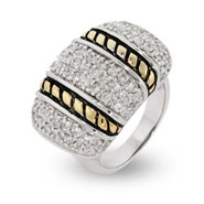 Designer Inspired Sparkling Pave Ring with Cable Design