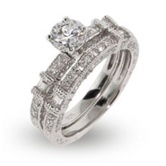 Contemporary Style Shimmering Cz Engagement Ring Set