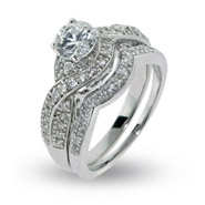 Elana's Sparkling Twisted Style Cz Engagement Ring Set