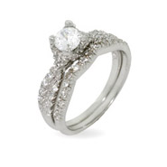 Elegant Engagement Ring Set in Sparkling Twist Design