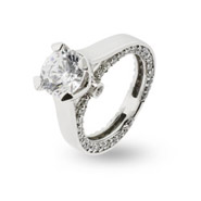 Romantic Brilliant Cut CZ Sterling Silver Engagement Ring