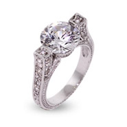 Belinda's Vintage Style Brilliant Cut CZ Engagement Ring