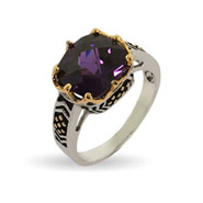 Designer Inspired Crown Set Amethyst CZ Sterling Silver Ring