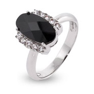 Elegant Oval Cut Onyx CZ Sterling Silver Ring