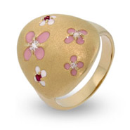 Gold Vermeil Pretty Pink Flower Enamel Ring