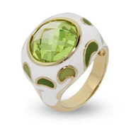 Peridot Paisley Enamel Ring in Gold Vermeil
