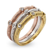 Sterling Silver Three Tone CZ Stackable Ring Set