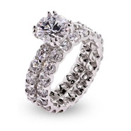 Sparkling Brilliant Cut CZ Sterling Silver Engagement Set