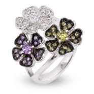 Sterling Silver Summer Flowers Bouquet CZ Cluster Ring - Clearance Final Sale