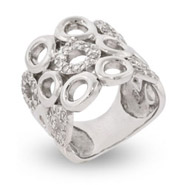 Elegant Silver and Pave CZs Sterling Silver Right Hand Ring