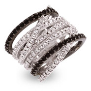 Designer Style Black and White CZ Criss Cross Ring
