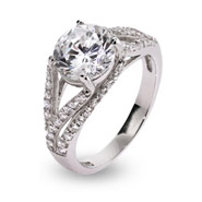 Elegant Deco Style Brilliant Cut CZ Sterling Silver Ring