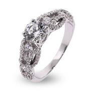 Rachel's Intricate Woven Style CZ Engagement Ring