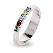 5 Stone Thin Band Mothers Ring with Austrian Crystal Birthstones