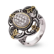 Designer Inspired Pave CZ Four Points Vintage Style Ring