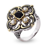 Designer Inspired Black Onyx and Pearl Vintage Style Ring