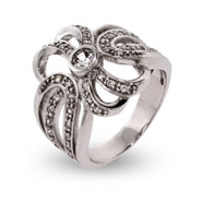 Elegant CZ Ribbon Style Sterling Silver Right Hand Ring