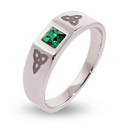 Engravable Celtic Trinity Knot Ring with Emerald CZ