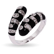 CZ Teardrop Ring in Black Enamel