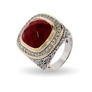 Designer Inspired Cushion Cut Red Carnelian Ring