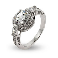 Elegant Brilliant Cut CZ Halo Ring with Baguettes