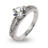 Round Brilliant Cut CZ Open Band Engagement Ring