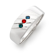 3 Stone Men's Family Birthstone Sterling Silver Ring