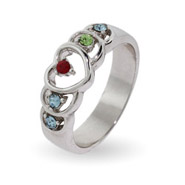 5 Stone Sterling Silver Heart Mother's Ring with Custom Birthstones